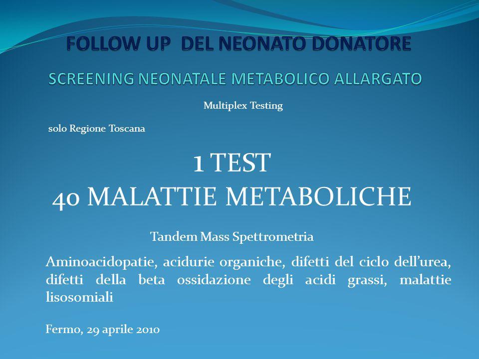 Fermo, 29 aprile 2010 Le malattie metaboliche sono circa 600, se prese singolarmente sono rare ma nell'insieme sono frequenti Incidenza in Italia 1 : 2.555 UK 1: 784