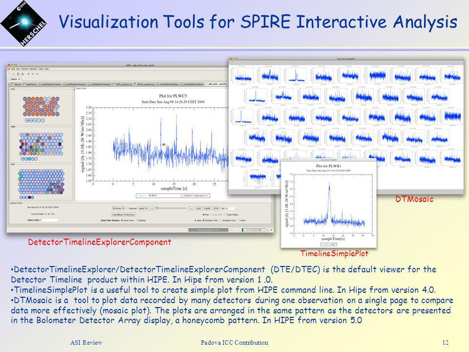 Visualization Tools for SPIRE Interactive Analysis ASI ReviewPadova ICC Contribution13 DTE/DTEC - Recent improvements Optimization of the code: created a new class for code shared between DTE and DTEC Color scale: now it's possible to select the min/max value to display Mask visualization: it's now possible to set a mask value from a preferences panel and visualize if a bolometer is flagged by this value Mosaic plot is allowed via right-click on the desired bolometer array A great effort has been made in increasing the package test coverage (from 50 to 81%).