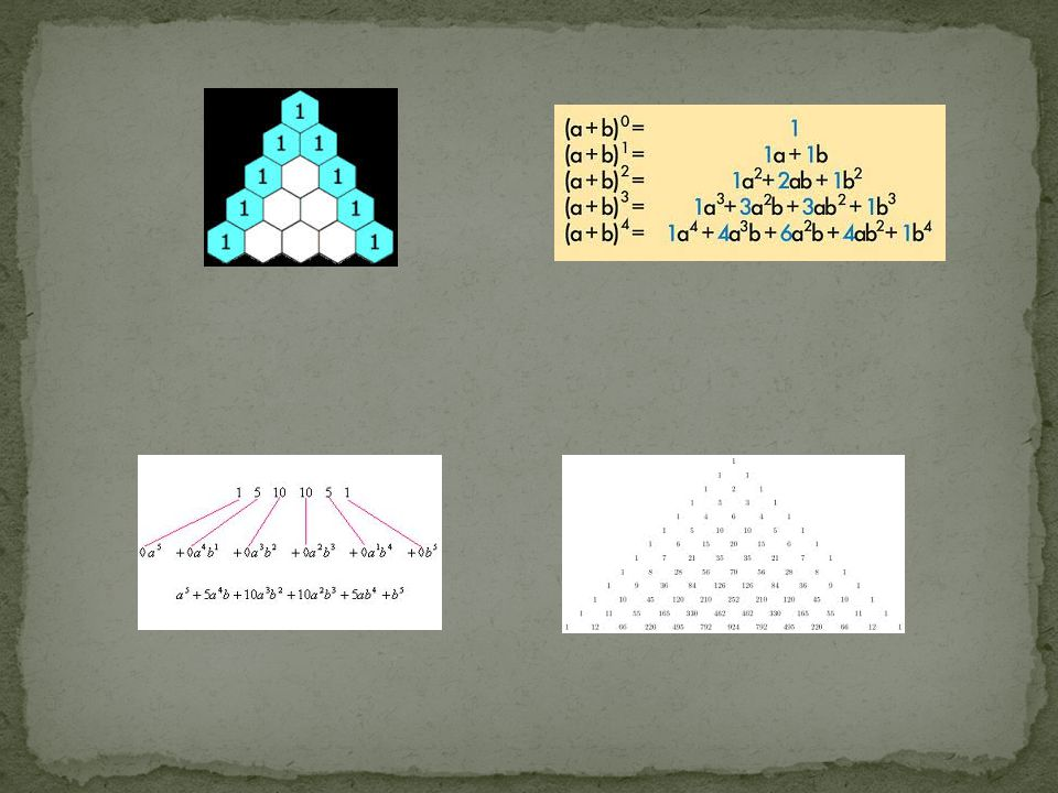 NUMERI DI FIBONACCI Dal triangolo di tartaglia si possono ricavar i numeri di Fibonacci, basta sommare i numeri delle diagonali come evidenziate nella figura: così dalla prima riga otteniamo 1, dalla seconda ancora 1, poi 2, 3, 5, 8, 13, 21,..., I numeri 1, 1, 2, 3, 5, 8, 13, 21, 34, 55, 89, 144,...