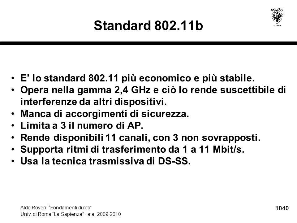 1041 Aldo Roveri, Fondamenti di reti Univ.di Roma La Sapienza - a.a.