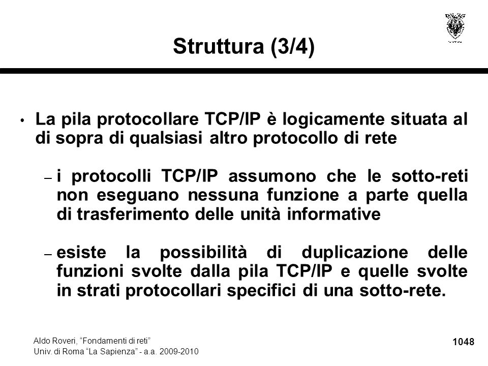 1049 Aldo Roveri, Fondamenti di reti Univ.di Roma La Sapienza - a.a.