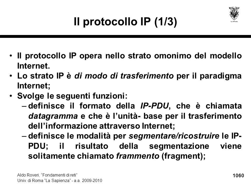 1061 Aldo Roveri, Fondamenti di reti Univ.di Roma La Sapienza - a.a.