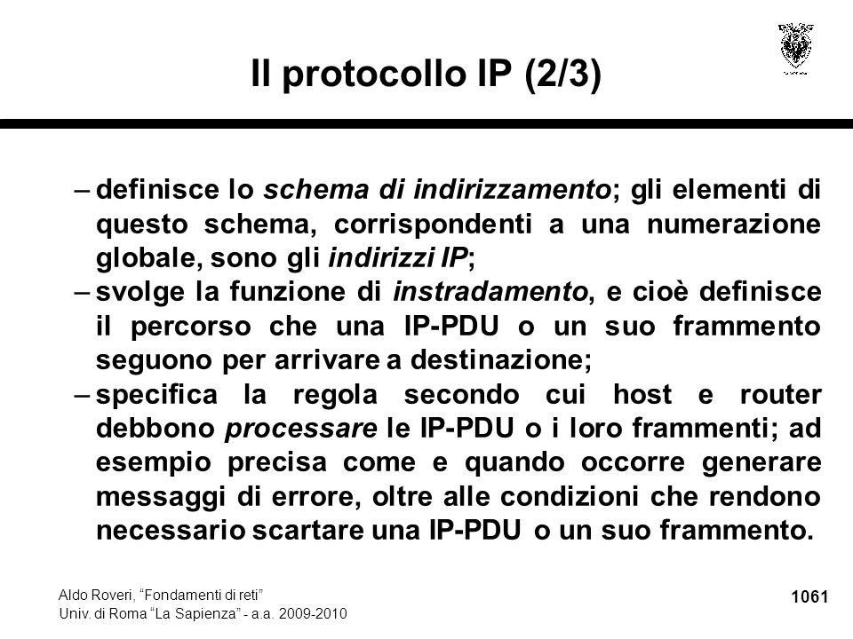 1062 Aldo Roveri, Fondamenti di reti Univ.di Roma La Sapienza - a.a.