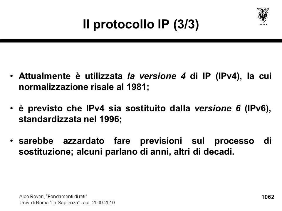 1063 Aldo Roveri, Fondamenti di reti Univ.di Roma La Sapienza - a.a.