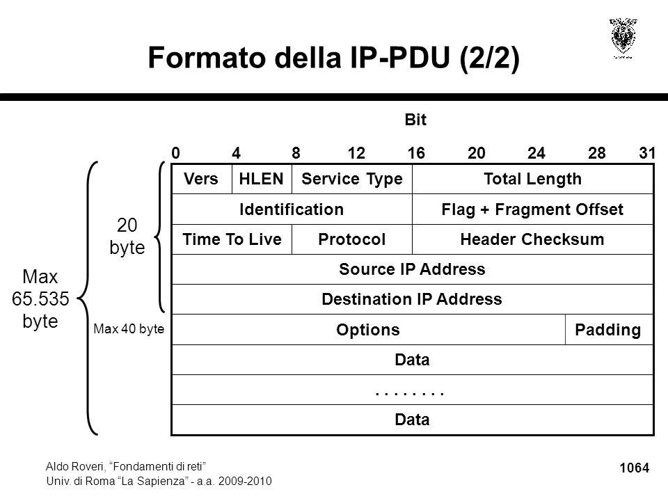 1065 Aldo Roveri, Fondamenti di reti Univ.di Roma La Sapienza - a.a.