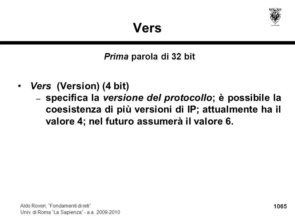 1066 Aldo Roveri, Fondamenti di reti Univ.di Roma La Sapienza - a.a.