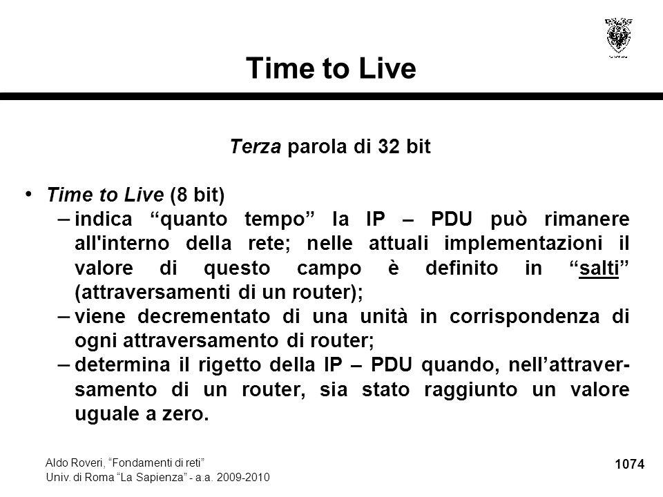 1075 Aldo Roveri, Fondamenti di reti Univ.di Roma La Sapienza - a.a.
