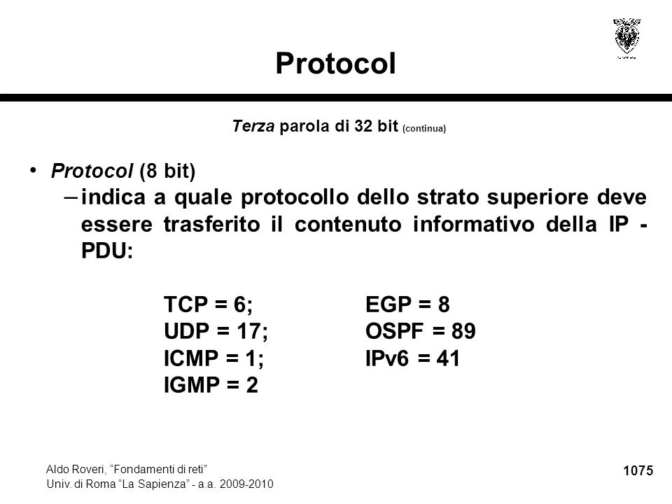 1076 Aldo Roveri, Fondamenti di reti Univ.di Roma La Sapienza - a.a.