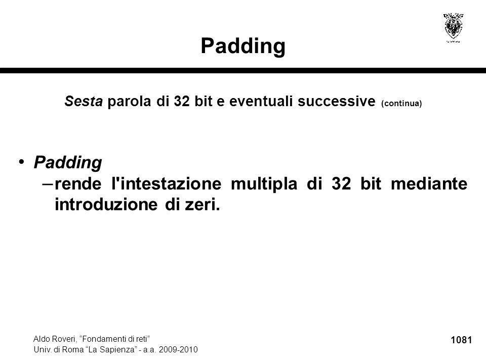 1082 Aldo Roveri, Fondamenti di reti Univ.di Roma La Sapienza - a.a.