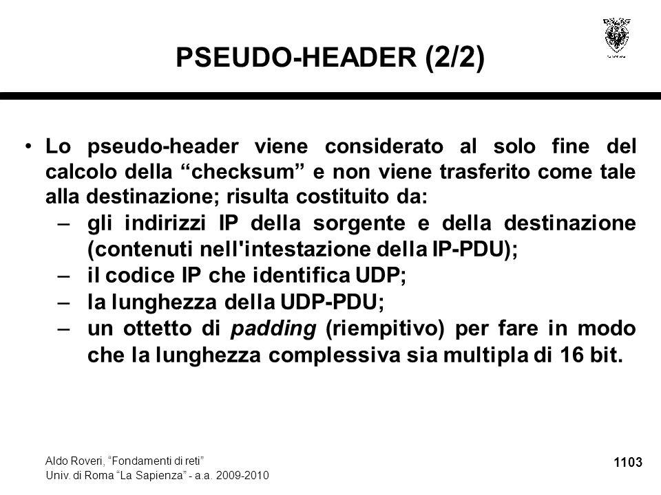 1104 Aldo Roveri, Fondamenti di reti Univ.di Roma La Sapienza - a.a.