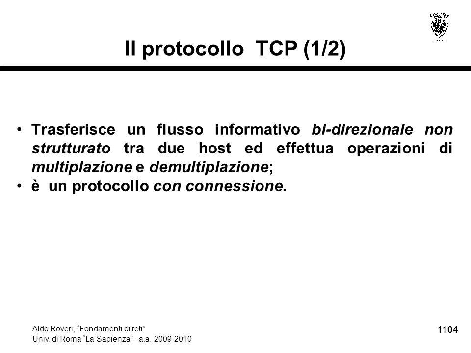 1105 Aldo Roveri, Fondamenti di reti Univ.di Roma La Sapienza - a.a.