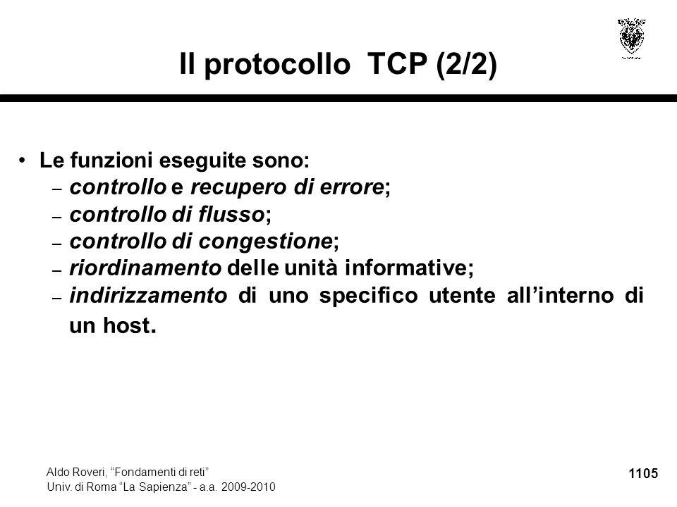 1106 Aldo Roveri, Fondamenti di reti Univ.di Roma La Sapienza - a.a.