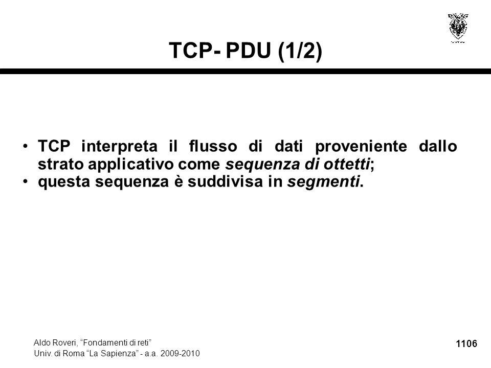 1107 Aldo Roveri, Fondamenti di reti Univ.di Roma La Sapienza - a.a.
