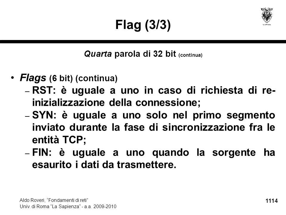 1115 Aldo Roveri, Fondamenti di reti Univ.di Roma La Sapienza - a.a.