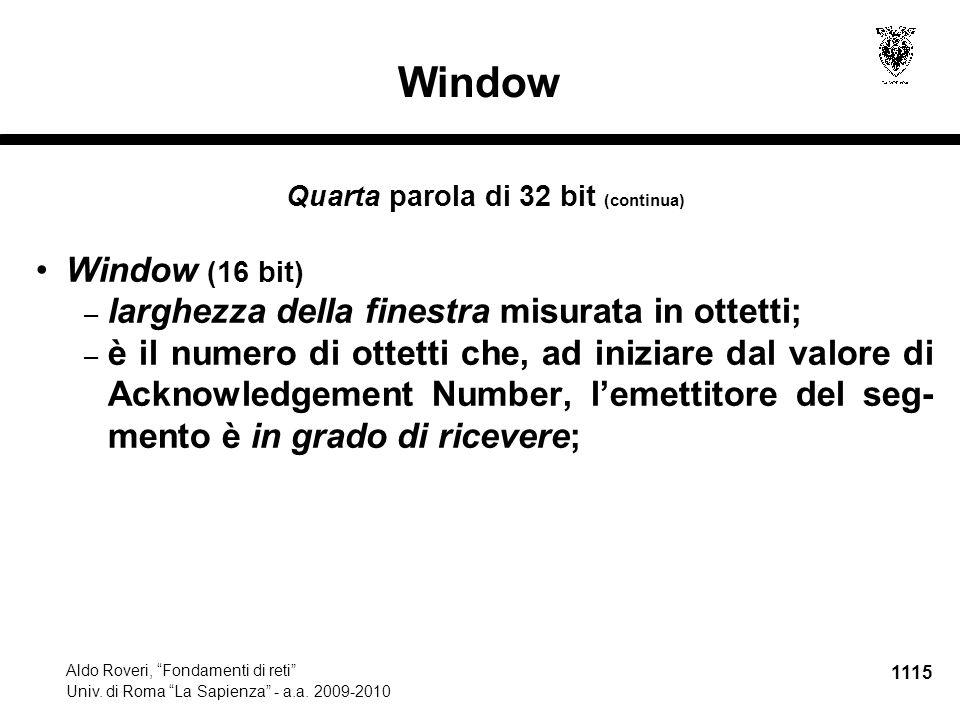 1116 Aldo Roveri, Fondamenti di reti Univ.di Roma La Sapienza - a.a.