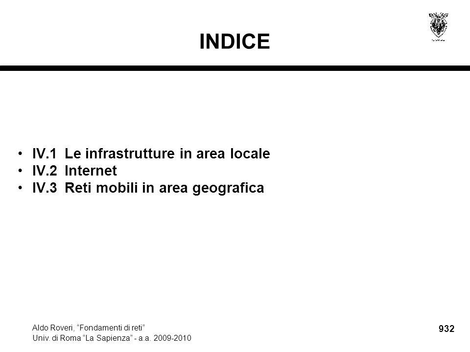 IV.1Le infrastrutture in area locale Aldo Roveri, Fondamenti di reti Univ.