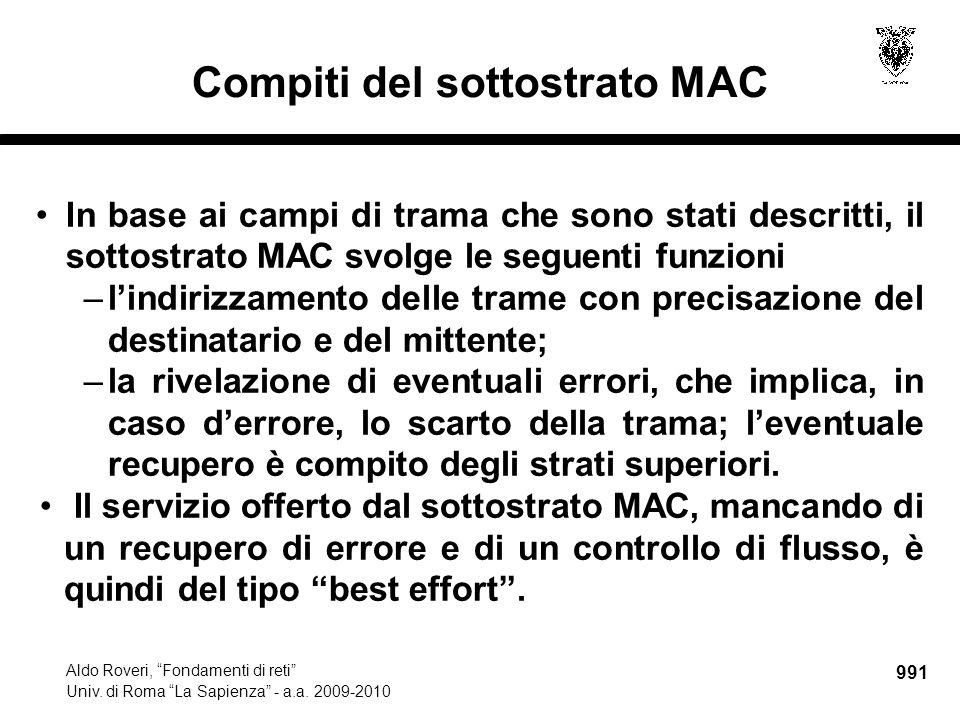 992 Aldo Roveri, Fondamenti di reti Univ.di Roma La Sapienza - a.a.