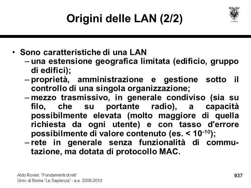 938 Aldo Roveri, Fondamenti di reti Univ.di Roma La Sapienza - a.a.