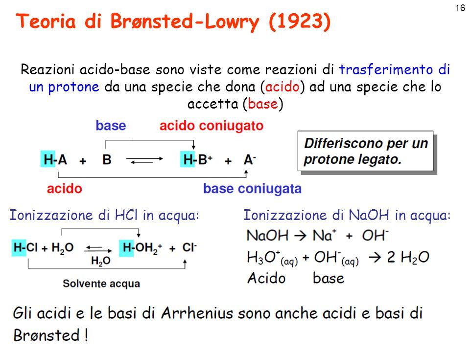 17 Teoria di Brønsted-Lowry Ammoniaca: Ione idrogenocarbonato: