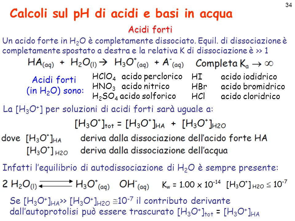 35 Calcoli sul pH di acidi e basi in acqua Acidi forti Per acidi forti non molto diluiti, vale a dire la cui C a =[HA] 0  10 -6 il contributo dell'acqua può essere trascurato e si avrà