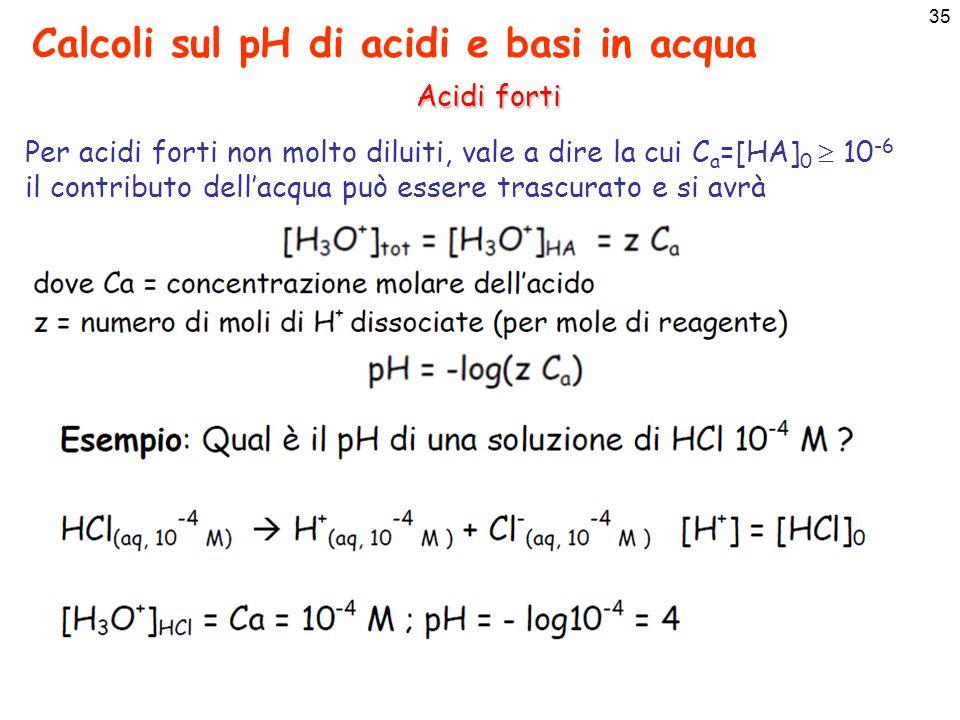 36 Calcoli sul pH di acidi e basi in acqua Basi forti Per le basi forti valgono gli stessi ragionamenti fatti prima, Basi forti (in H 2 O) sono: NaOH idrossido di Na KOH idrossido di K Ba(OH) 2 idrossido di Ba Sr(OH) 2 idrossido di Sr La [OH - ] per soluzioni di basi forti sarà uguale a: Se [OH - ] B >> [OH - ] H2O  10 -7 il contributo derivante dall'autoprotolisi può essere trascurato [OH - ] tot = [OH - ] B Ca(OH) 2 idrossido di Ca Na 2 O ossido di Na CaOossido di calcio Per basi forti non molto diluite, vale a dire la cui C b =[B] 0  10 -6 il contributo dell'acqua può essere trascurato e si avrà