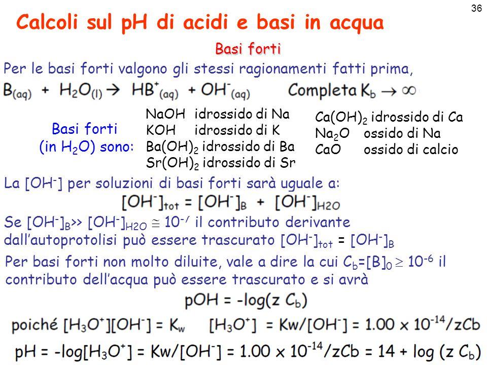 37 Calcoli sul pH di acidi e basi in acqua Basi forti
