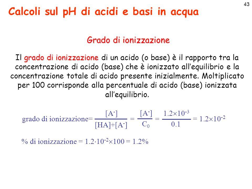 44 Calcoli sul pH di acidi e basi in acqua Basi deboli Per le basi deboli si applicano gli stessi ragionamenti visti sopra per gli acidi deboli Siccome pH = 14 – pOH si può scrivere:
