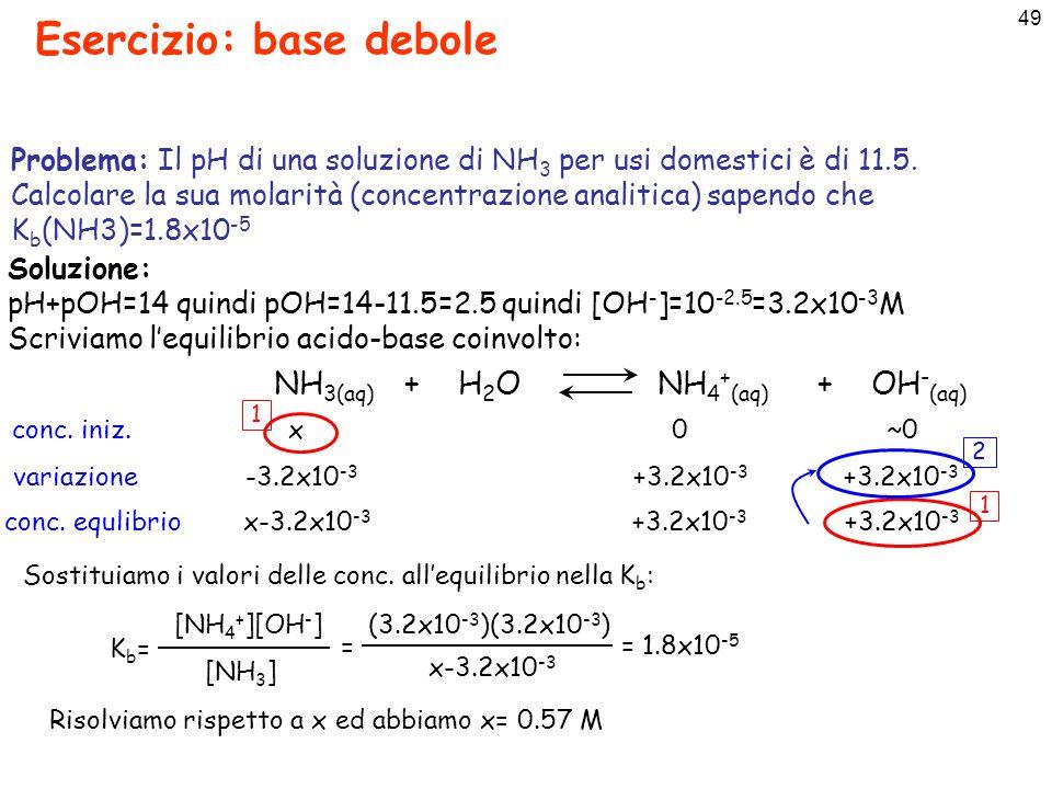 50 Grado di dissociazione e dipendenza dal pH Acido debole con concentrazione analitica C 0 : Il grado di dissociazione: [A - ] [HA]+[A - ] C0C0 [A - ] x= =  [A - ] = x  C 0 [HA] = C 0 -[A - ]=C 0 (1-x) Posso esprimere Ka in funzione di x e [H 3 O + ]: xC 0 [H 3 O + ] C 0 (1-x) Ka=Ka= = x[H 3 O + ] (1-x) K a (1-x) = x[H 3 O + ]  KaKa [H 3 O + ] + K a x = In ambiente acido: da cui si ha: [H 3 O + ] >> K a si ha che KaKa [H 3 O + ] x   0 quindi: [A - ]  0 [HA]  C 0 In ambiente acido l'acido debole è praticamente indissociato (equilibrio di dissociazione spostato verso sin.