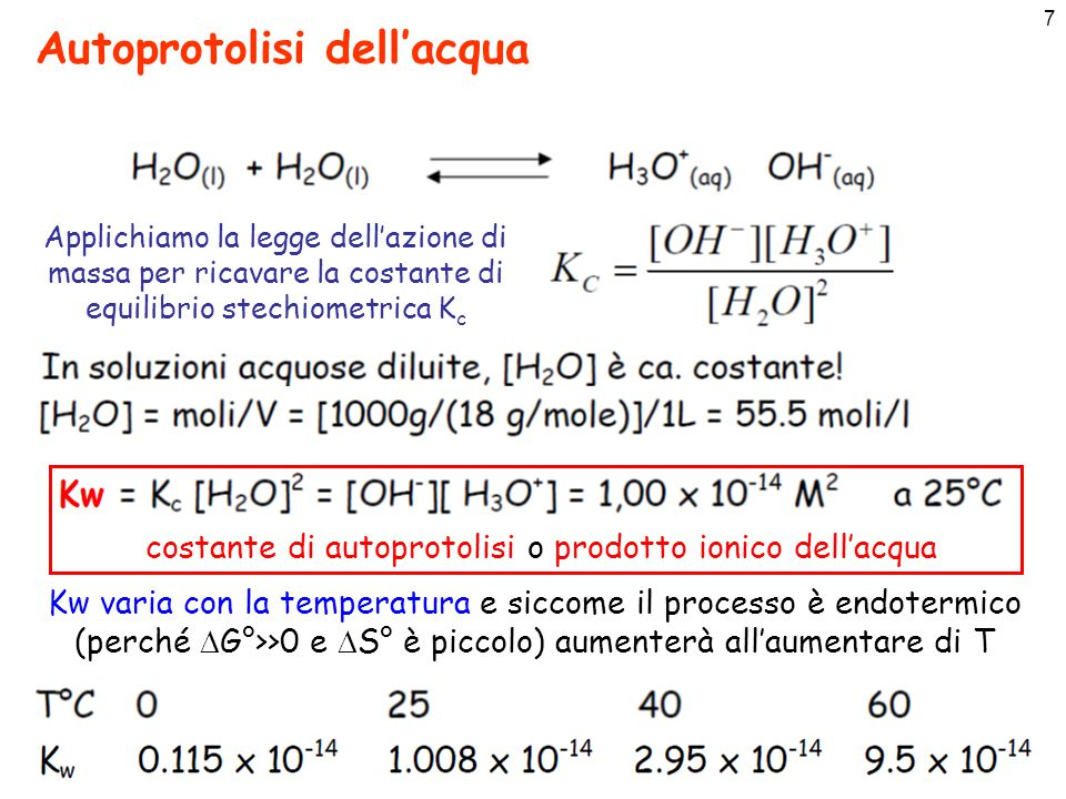 8 [H] + e [OH] - in acqua pura e pH La scala di pH pH è definito come il logaritmo decimale della concentrazione di ioni H 3 O + cambiato di segno [H 3 O + ] = 10 -pH Se siamo a 25 °C in acqua pura pH = -log[H 3 O + ]=-log[10 -7 ] = 7.00 Una soluzione acquosa che a 25 °C abbia un pH = 7.00 indica che [H 3 O + ]=[OH-] e viene detta neutra
