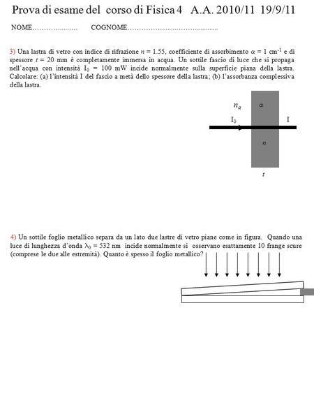 Il reticolo di diffrazione ppt scaricare for Foglio metallico