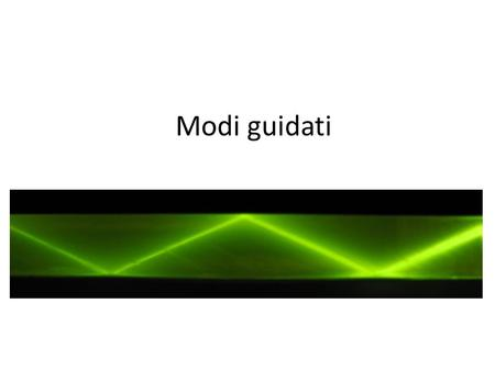 Modi guidati. Cono di luce Within the limit angle Dielectric slab Beyond the limit angle.