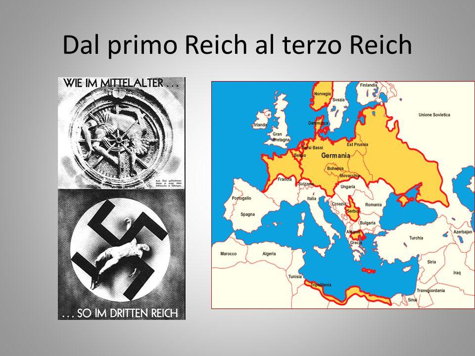 L'IDEOLOGIA NAZISTA Modello di Hitler è Mussolini soprattutto nella tecnica seguita per la presa del potere ma … …completa ed esclusiva concezione totalitaria dello stato-nazione incentrata sul mito pagano della pura razza ariana Ciò rende il nazismo più aggressivo e pericoloso
