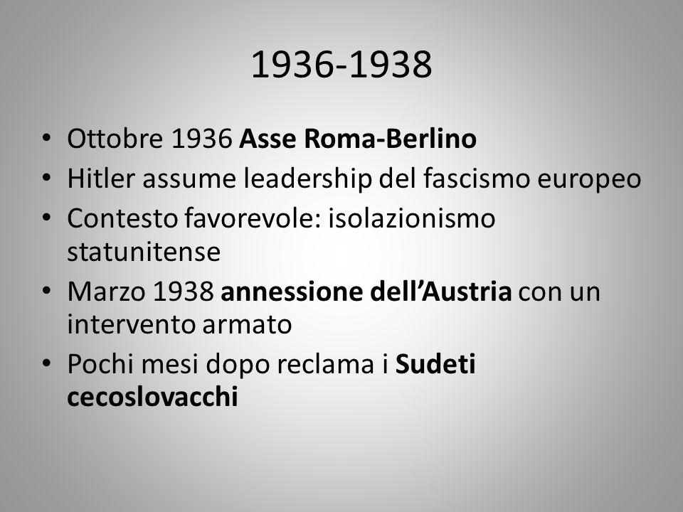 Settembre 1938 Conferenza di Monaco: Hitler, Chamberlain, Daladier, Mussolini stabiliscono che la Cecoslovacchia ceda i Sudeti a Hitler e altri territori a Polonia e Ungheria Marzo 1939 Hitler occupa militarmente la Cecoslovacchia