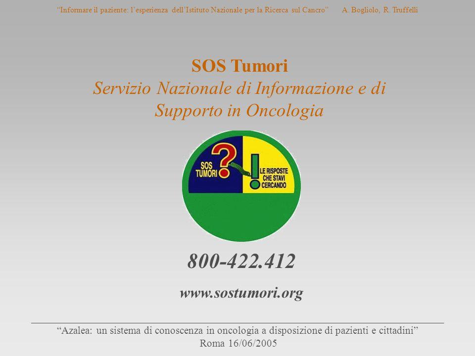 Informare il paziente: l'esperienza dell'Istituto Nazionale per la Ricerca sul Cancro A.