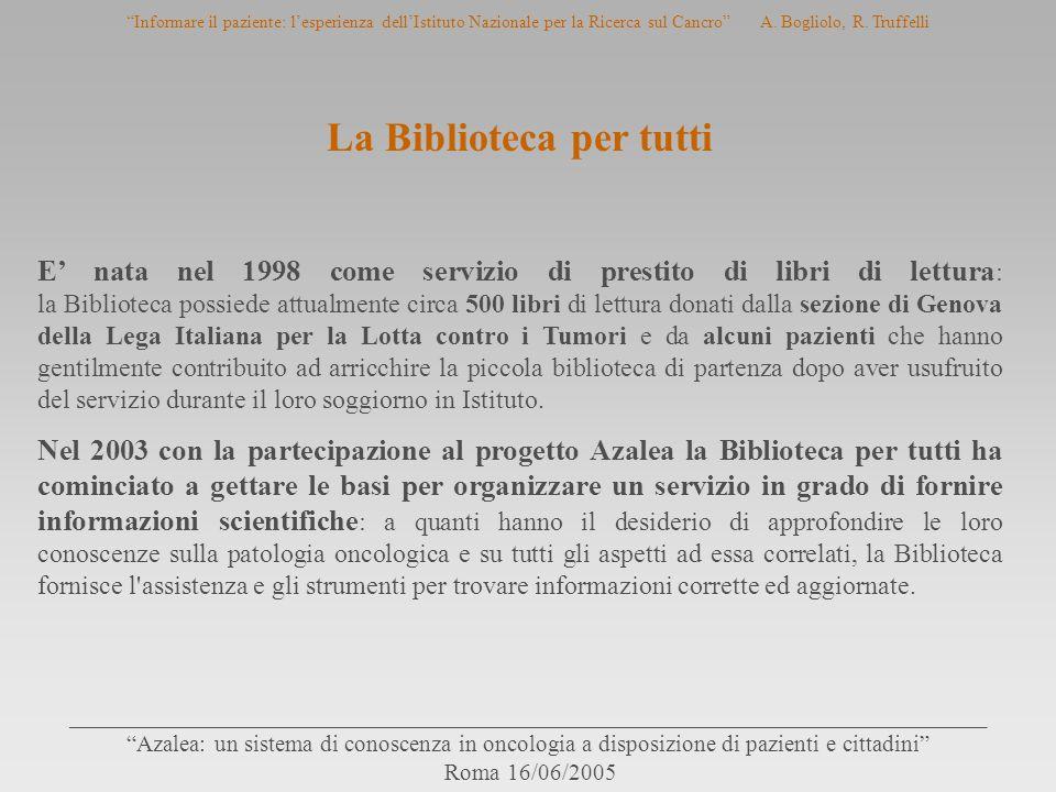 ______________________________________________________________________________ Azalea: un sistema di conoscenza in oncologia a disposizione di pazienti e cittadini Roma 16/06/2005 Informare il paziente: l'esperienza dell'Istituto Nazionale per la Ricerca sul Cancro A.