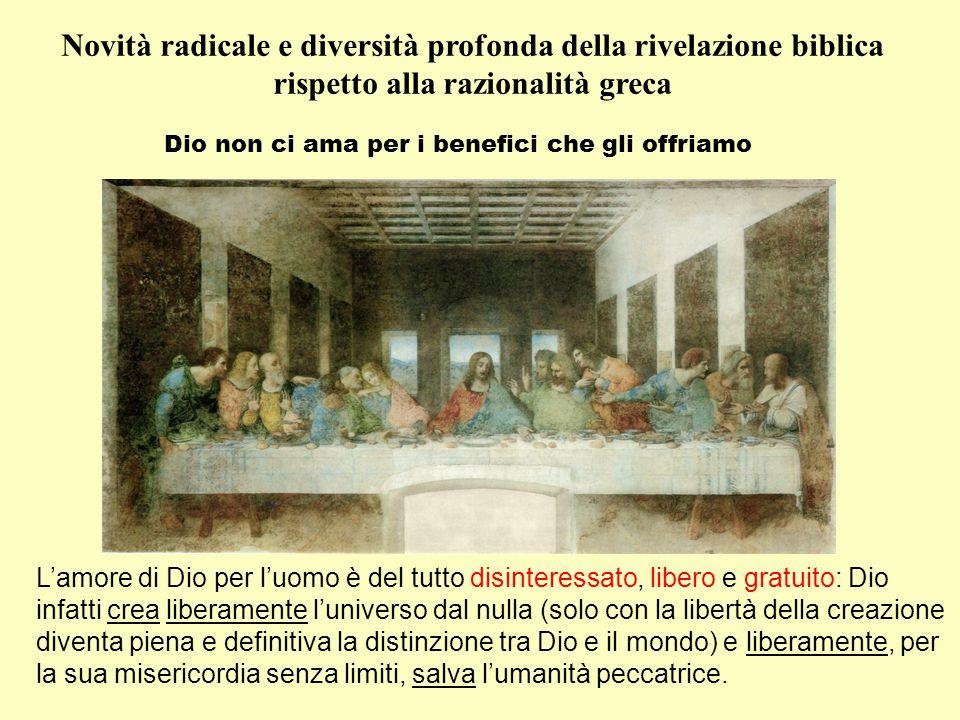 Novità radicale e diversità profonda della rivelazione biblica rispetto alla razionalità greca Non c'è separazione tra il Dio dei filosofi e il Dio salvatore Il Dio dei fistolosi: Il Bene (Platone); l'Unità (Plotino); l'Immutabilità (sant'Agostino); l'Infinitezza (Scoto; Ockham; Cartesio); la Conoscenza (Eckhart); la Libertà (Scretan); il Fondare (Zubiri); ecc.