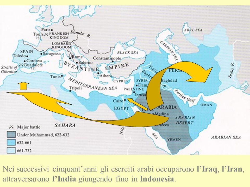 L'ESPANSIONE DELL'ISLAM Negli stessi anni, partendo da Alessandria raggiunsero Cartagine occupandola definitivamente nel 692, arrivando fino in Marocco.