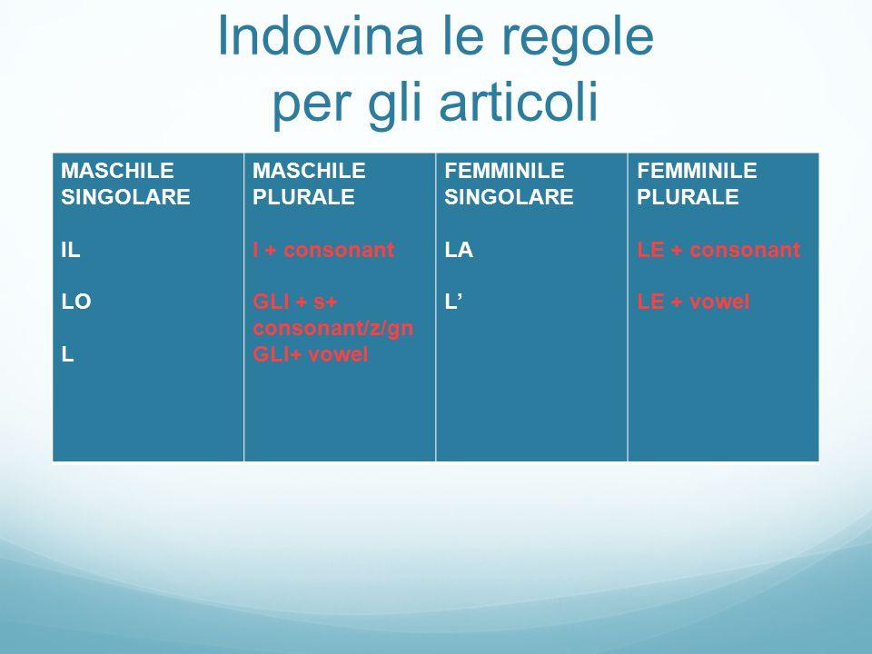 ECCEZIONI AMICO  AMICI GRECO  GRECI Check p. 73-74 for all the details and exceptions!