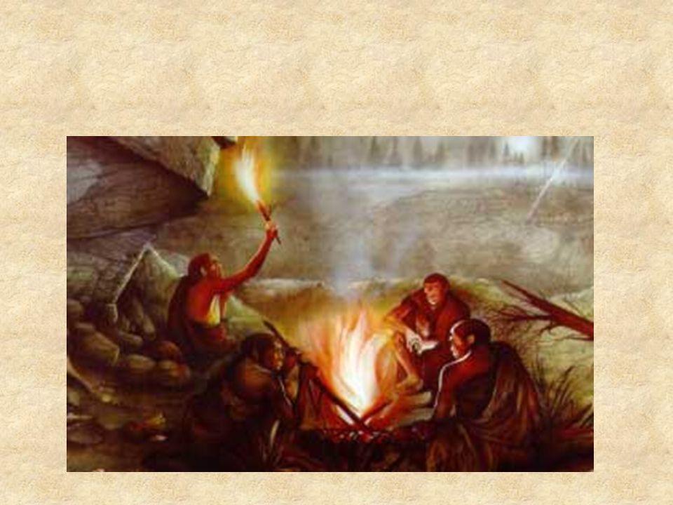 In seguito, essi impararono ad accenderlo percuotendo fra loro due pietre, fino ad ottenere delle scintille che incendiavano l'erba secca posta lì accanto.