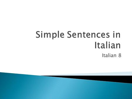 Simple Sentences in Italian