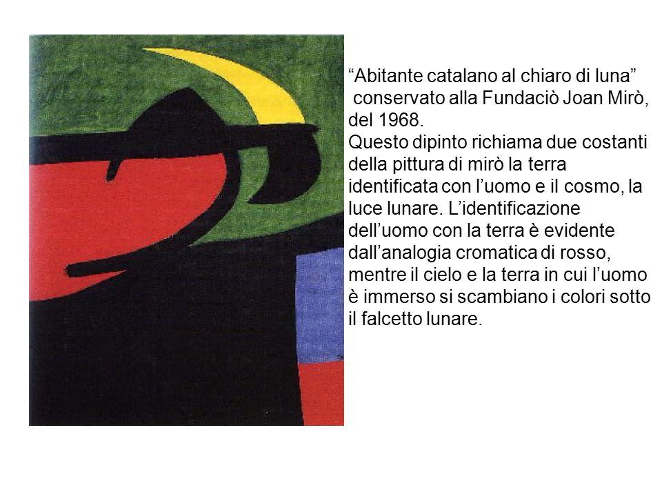 Donna 1972 Per i suoi lavori Mirò usa colori di forte impatto, rosso, blu, giallo e nero, realizzando opere sempre più astratte caratterizzate da tratti e linee di colori crudi e piatti che hanno lasciato il segno nella storia dell arte.