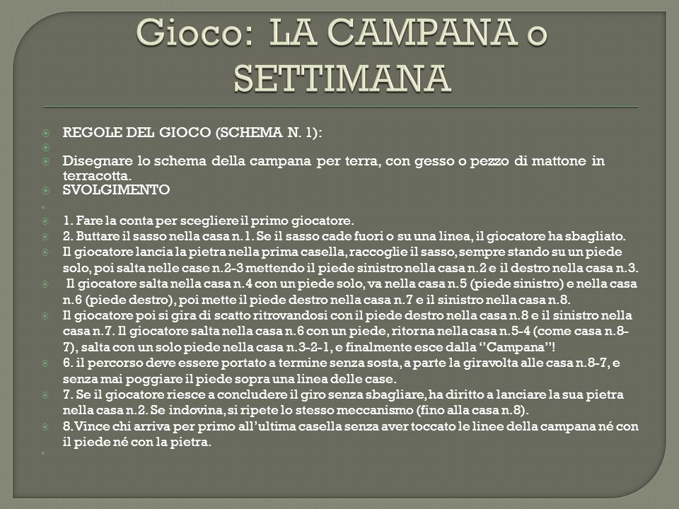  REGOLE DEL GIOCO (SCHEMA N.