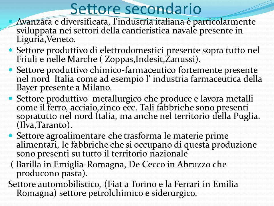 Settore terziario In Italia il terziario rappresenta il settore più importante dell'economia (67% di occupati nel 2009).