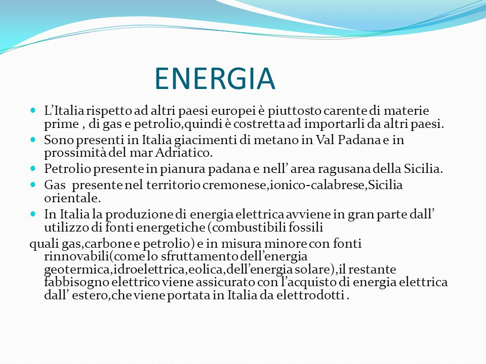 Consumi energetici in Italia Su base annuale, i consumi totali di energia elettrica sono aumentati dell 1,3% (313,8 TWh): mercato libero 215,7 TWh (+3,2%); mercato tutelato 74,2 TWh (-7,0%); autoconsumo 23,9 TWh (+13,3%).