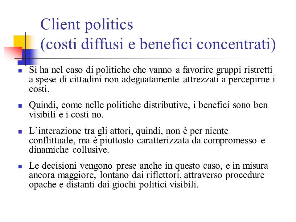Entrepreneurial politics (benefici diffusi e costi concentrati) Si ha quando alcuni imprenditori di policy cercano di vincere le resistenze dei gruppi organizzati per promuovere politiche volte alla tutela dell'interesse generale.