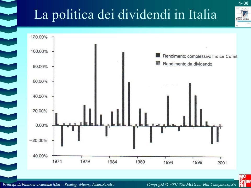 1- 31 Copyright © 2007 The McGraw-Hill Companies, SrlPrincipi di Finanza aziendale 5/ed – Brealey, Myers, Allen,Sandri La politica dei dividendi in Italia