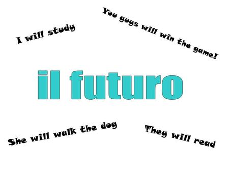 They will read I will study She will walk the dog You guys will win the game!