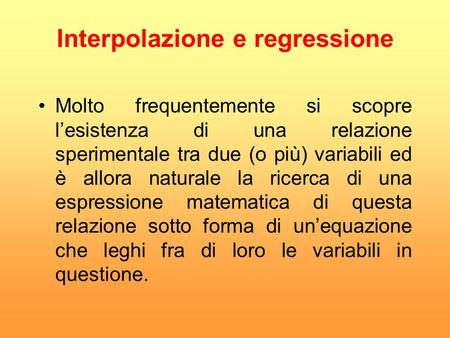 Interpolazione e regressione
