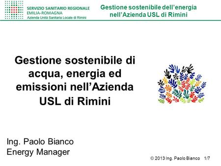 Ing. Paolo Bianco Energy Manager