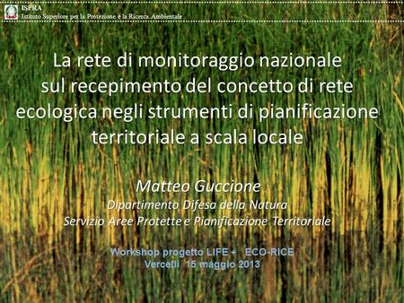 Workshop progetto LIFE + ECO-RICE